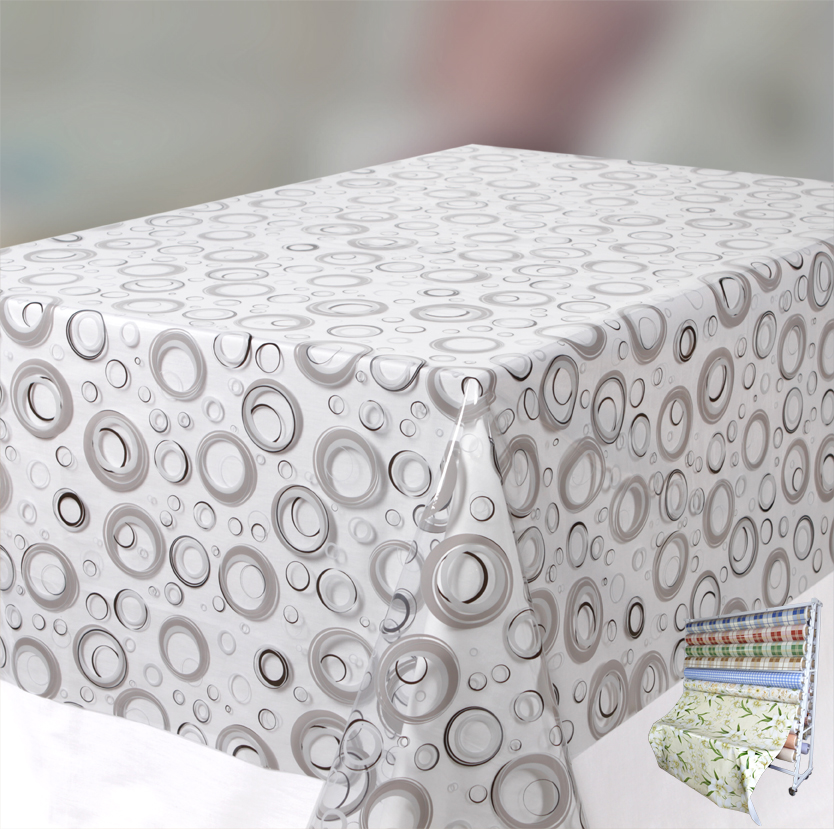 transparente folie tischdecke bedruckt bubbles meterware gr e w hlbar ebay. Black Bedroom Furniture Sets. Home Design Ideas